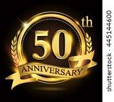 50th golden anniversary logo... | Shutterstock .eps vector #445144600