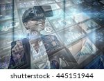 screen collage showing business ... | Shutterstock . vector #445151944
