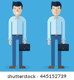 smiling happy man and sad man ... | Shutterstock .eps vector #445152739