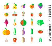 farm fruits and vegetables flat ... | Shutterstock .eps vector #445165888