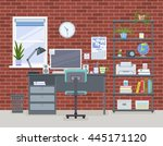 workspace for freelancer in... | Shutterstock .eps vector #445171120