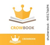 vector book and crown logo... | Shutterstock .eps vector #445176694