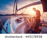 young man working with rope on... | Shutterstock . vector #445178938