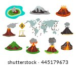 volcano magma nature blowing up ... | Shutterstock .eps vector #445179673