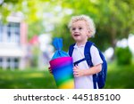 happy child holding traditional ... | Shutterstock . vector #445185100