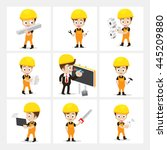 set of 9 engineer and labor... | Shutterstock .eps vector #445209880