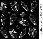 black and white crystal pattern | Shutterstock . vector #445217938