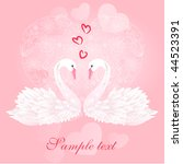 two swans and heart | Shutterstock .eps vector #44523391