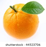 Ripe Orange With Leaves On...