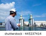 engineer is recording data with ... | Shutterstock . vector #445237414