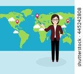 hipster businesswoman pointing... | Shutterstock .eps vector #445242808