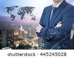 double exposure of professional ... | Shutterstock . vector #445245028