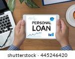 personal loan man hand tablet... | Shutterstock . vector #445246420