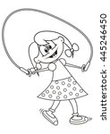 girl and rope  coloring book | Shutterstock .eps vector #445246450