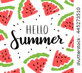 vector card with watermelon and ... | Shutterstock .eps vector #445273510