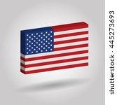 usa flag 3d on gray background. | Shutterstock .eps vector #445273693