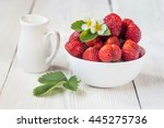 fresh strawberries in a white... | Shutterstock . vector #445275736