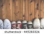 family of sneakers  woodgrain | Shutterstock . vector #445283326