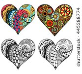 set hand drawn hearts in... | Shutterstock .eps vector #445288774