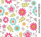 seamless floral with beautiful... | Shutterstock .eps vector #445290850