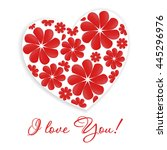 card with heart and inscription ... | Shutterstock . vector #445296976