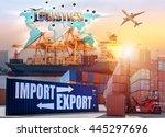 industrial container cargo... | Shutterstock . vector #445297696