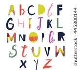 vector hand drawn funky... | Shutterstock .eps vector #445300144