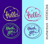 hand drawn  lettering. hello ... | Shutterstock . vector #445301266