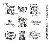 save the date collection with... | Shutterstock . vector #445301548