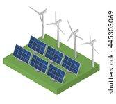 wind turbine power. isometric.... | Shutterstock .eps vector #445303069