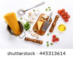spaghetti with various... | Shutterstock . vector #445313614