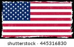 american flag with grunge... | Shutterstock .eps vector #445316830