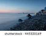 seascape sunset with big rocks... | Shutterstock . vector #445320169