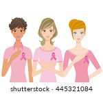 pink ribbon and woman | Shutterstock .eps vector #445321084