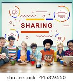 sharing connection online... | Shutterstock . vector #445326550