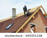 building contractors putting... | Shutterstock . vector #445351138