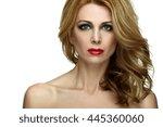 portrait beautiful girl with...   Shutterstock . vector #445360060
