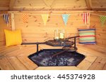 the interior of a wooden bbq... | Shutterstock . vector #445374928