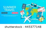 trip to world. travel to world. ... | Shutterstock .eps vector #445377148