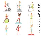 women training in gym set | Shutterstock .eps vector #445381750
