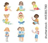 kids reading books icon set | Shutterstock .eps vector #445381780