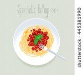 spaghetti  italian pasta vector ... | Shutterstock .eps vector #445381990