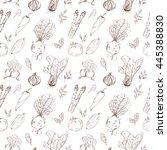 vegetables seamless pattern....   Shutterstock .eps vector #445388830