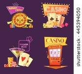 royal casino retro cartoon 2x2... | Shutterstock .eps vector #445394050