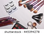 tools makeup powder brush... | Shutterstock . vector #445394278