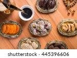 arabian coffee with dried...   Shutterstock . vector #445396606