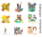 assembly flat icons the first... | Shutterstock .eps vector #445396816