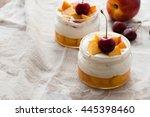 summer dessert of peaches and... | Shutterstock . vector #445398460