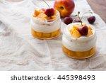 summer dessert of peaches and... | Shutterstock . vector #445398493
