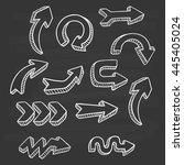 set of doodle arrows with... | Shutterstock .eps vector #445405024